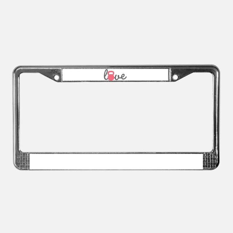 Love Kettlebell in Pink License Plate Frame