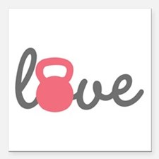 """Love Kettlebell in Pink Square Car Magnet 3"""""""