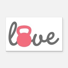 Love Kettlebell in Pink Rectangle Car Magnet