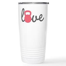 Love Kettlebell in Pink Travel Coffee Mug
