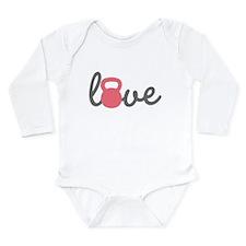 Love Kettlebell in Pink Long Sleeve Infant Bodysui