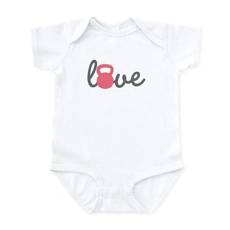 Love Kettlebell in Pink Infant Bodysuit