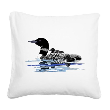 loon with babies Square Canvas Pillow