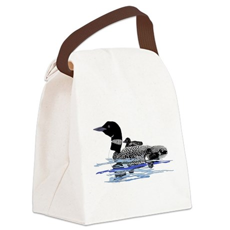 loon with babies Canvas Lunch Bag