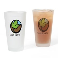 Save The Earth Logo Drinking Glass