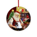 Santa's Parti Pom (red & White) Ornament (Round)