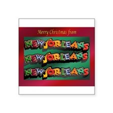"FrenchQuarterChristmasCard.png Square Sticker 3"" x"