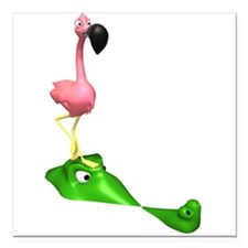 """Flamingo and Gator.png Square Car Magnet 3"""" x 3"""""""
