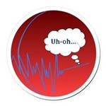 UhOhred.png Round Car Magnet