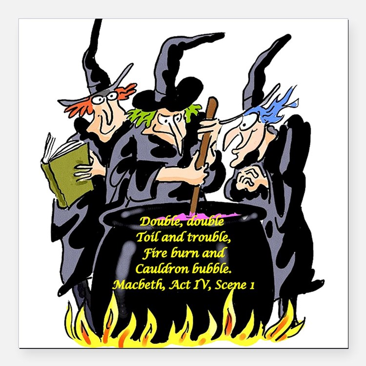 """3Witches.png Square Car Magnet 3"""" x 3"""""""