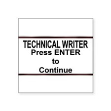 "TechWriterPlate.png Square Sticker 3"" x 3"""