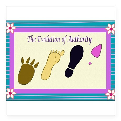 EvolutionofAuthorityCard.png Square Car Magnet 3""