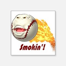 "Smokinbaseball.png Square Sticker 3"" x 3"""