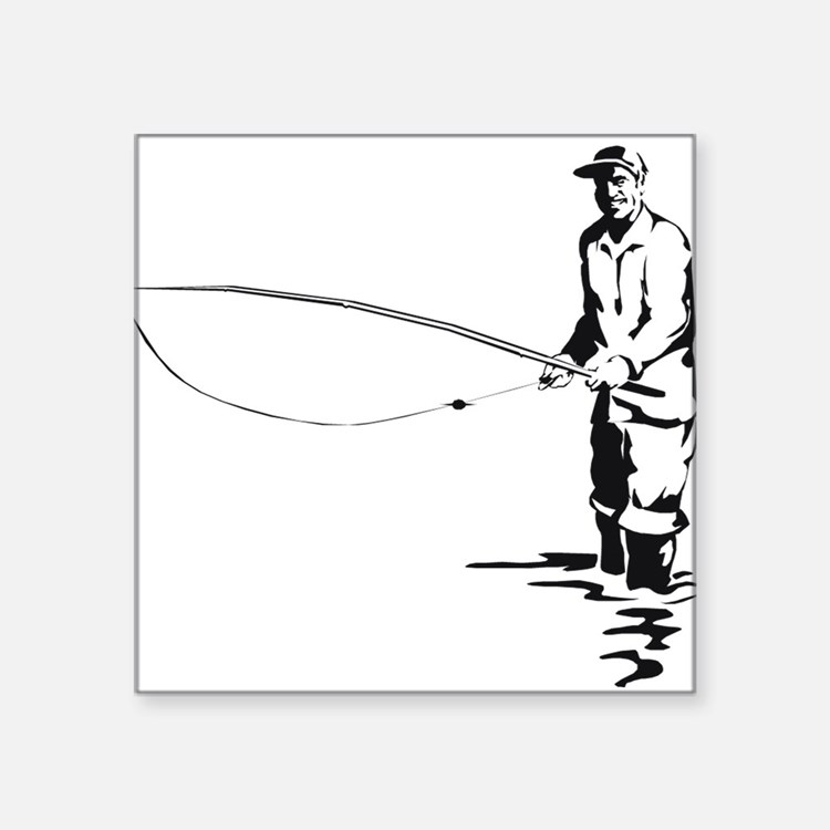 "flyfishing1.png Square Sticker 3"" x 3"""