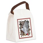 TurquoiseParrotsCurtain.png Canvas Lunch Bag
