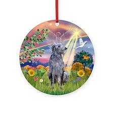 Cloud Angel & Deerhound Ornament (Round)