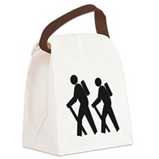 hiking_BW.png Canvas Lunch Bag
