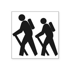 "hiking_BW.png Square Sticker 3"" x 3"""
