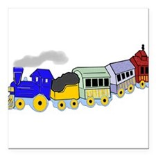 "toy_train_BW.png Square Car Magnet 3"" x 3"""