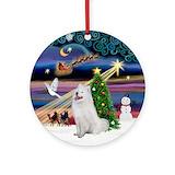 Samoyeds Round Ornaments