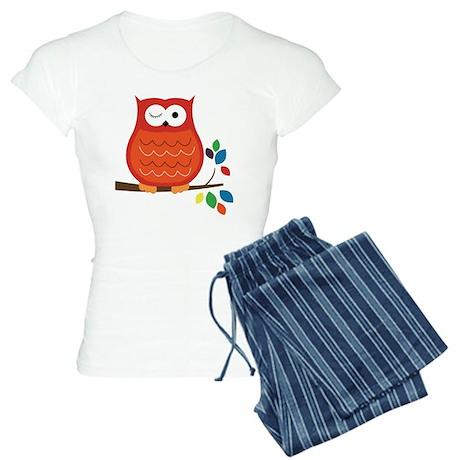 Bold Orange Owl with leaves Women's Light Pajamas