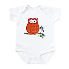 Bold Orange Owl with leaves Infant Bodysuit