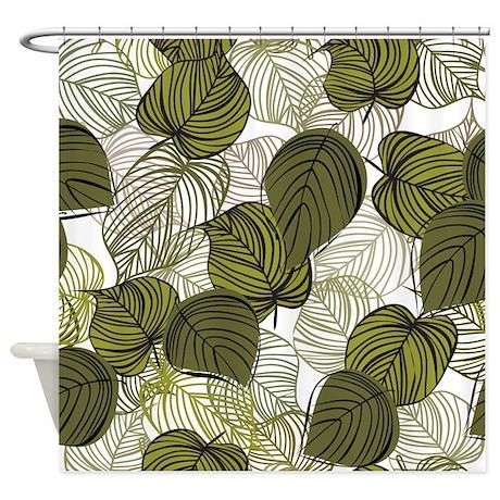 Leaf Pattern Shower Curtain