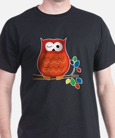 Bold Orange Owl with leaves T-Shirt