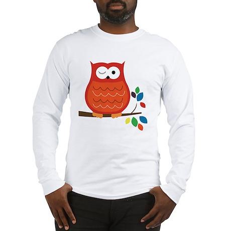 Bold Orange Owl with leaves Long Sleeve T-Shirt