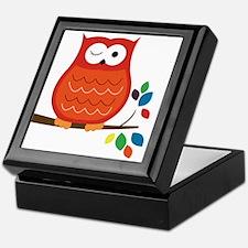 Bold Orange Owl with leaves Keepsake Box