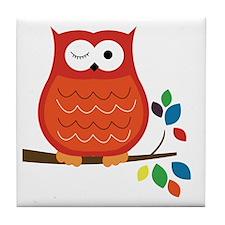Bold Orange Owl with leaves Tile Coaster