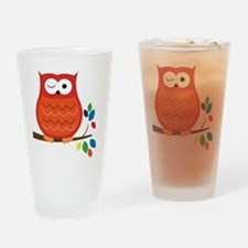 Bold Orange Owl with leaves Drinking Glass