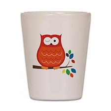 Bold Orange Owl with leaves Shot Glass