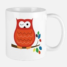 Bold Orange Owl with leaves Mug