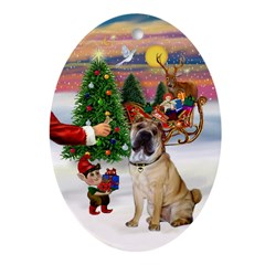 Santa's Treat with a Shar Pei Oval Ornament