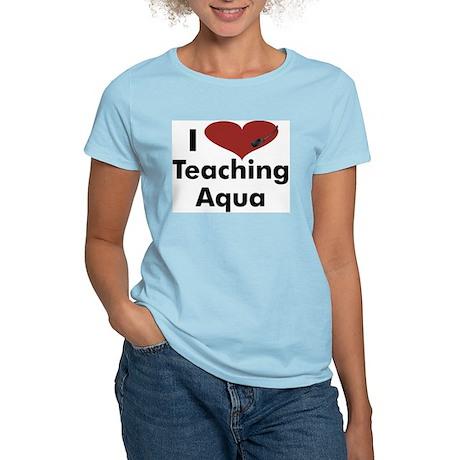 I heart teaching aqua women 39 s light t shirt i heart for Aqua blue color t shirt