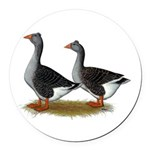 Tufted Toulouse Geese Round Car Magnet