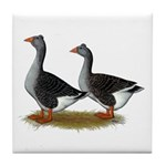 Tufted Toulouse Geese Tile Coaster
