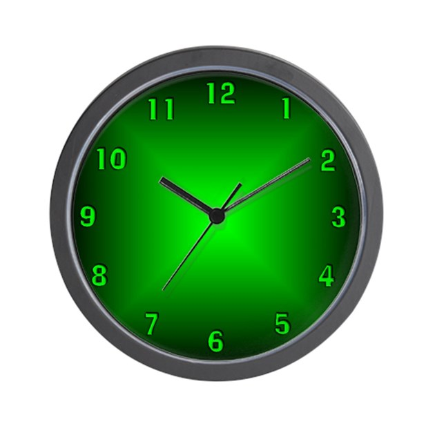 Green glow wall clock by justaminuteclockshop for Glow in the dark wall clocks australia