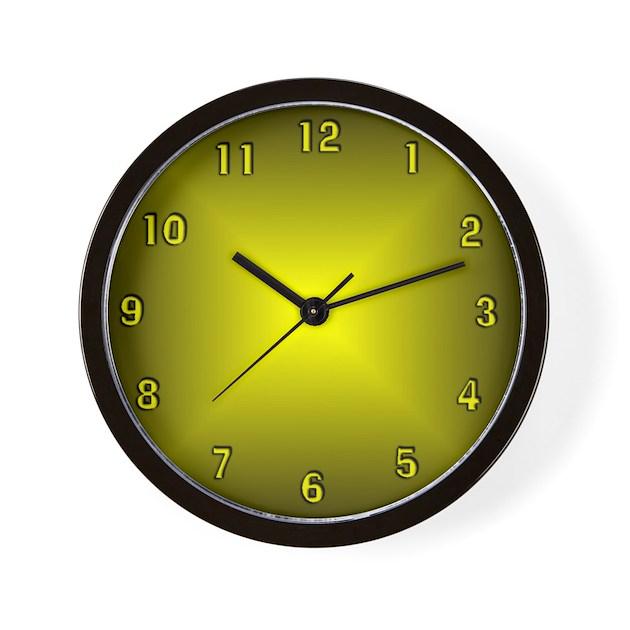 Yellow glow wall clock by justaminuteclockshop for Glow in the dark wall clocks australia