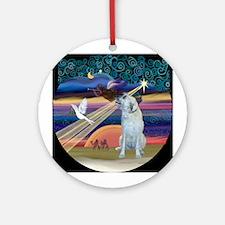 Xmas Star & Irish Wolfhound Ornament (Round)