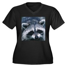Cute Raccoon Women's Plus Size V-Neck Dark T-Shirt