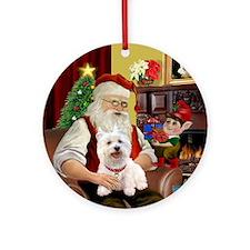 Santa's Westie Ornament (Round)
