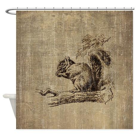 Vintage Squirrel Shower Curtain