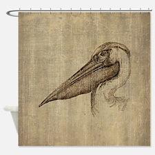 Vintage Pelican Shower Curtain