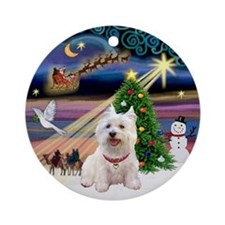 Xmas Magic & Westie Ornament (Round)