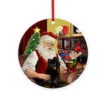 Santa's Black Pom (B) Ornament (Round)