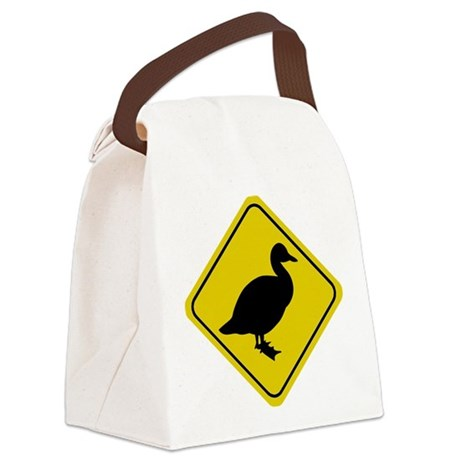 duck-crossing-sign.... Canvas Lunch Bag