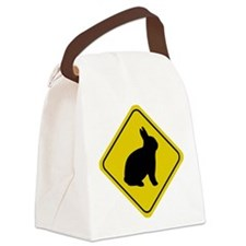 rabbit-crossing-sign.tif Canvas Lunch Bag