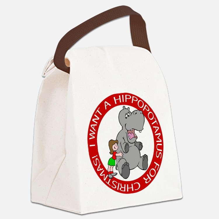 FIN-hippo-christmas-girl.png Canvas Lunch Bag